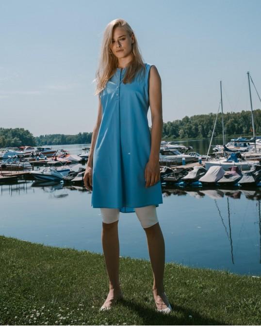 Шелковое платье-туника голубое