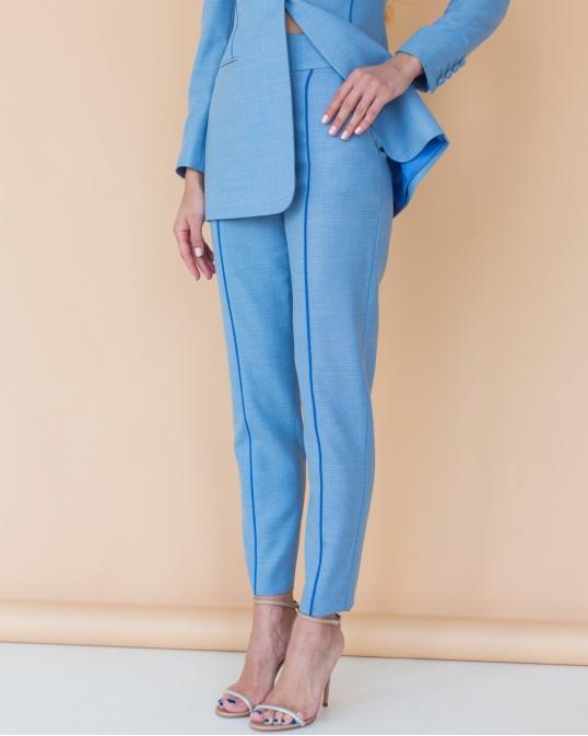Голубые брюки из тонкой костюмной шерсти с синим кантом