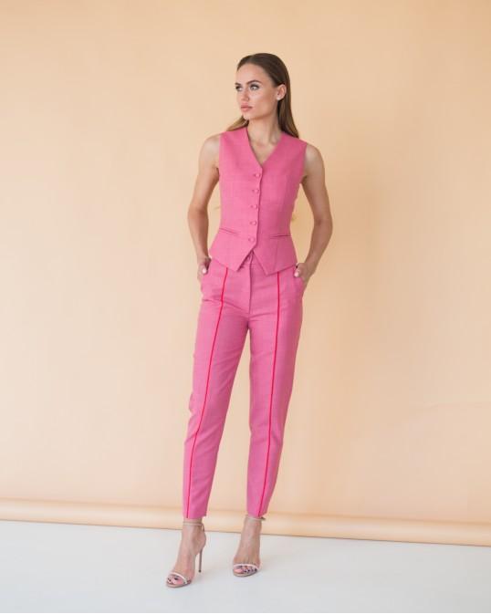 Розовые брюки из тонкой костюмной шерсти с красным кантом