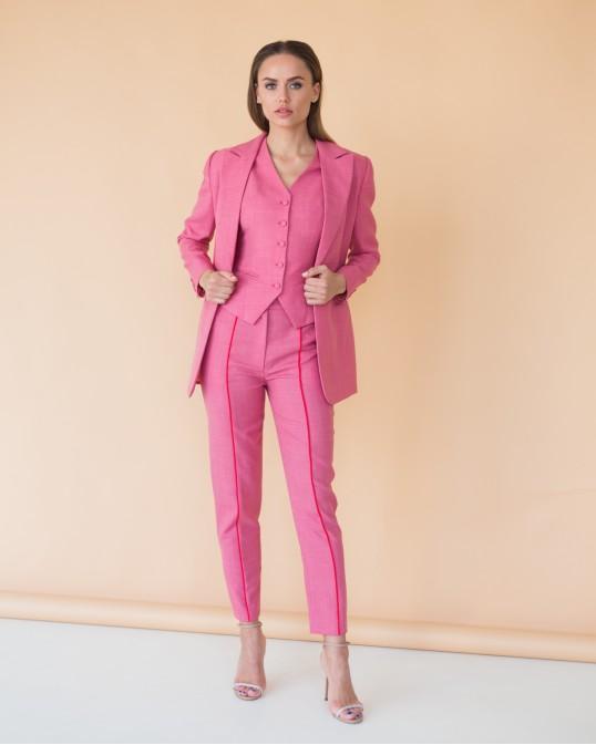 Розовый жакет из тонкой костюмной шерсти с красным кантом