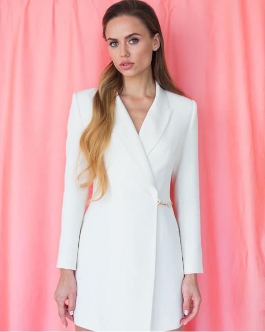 Платье-жакет молочное с украшением