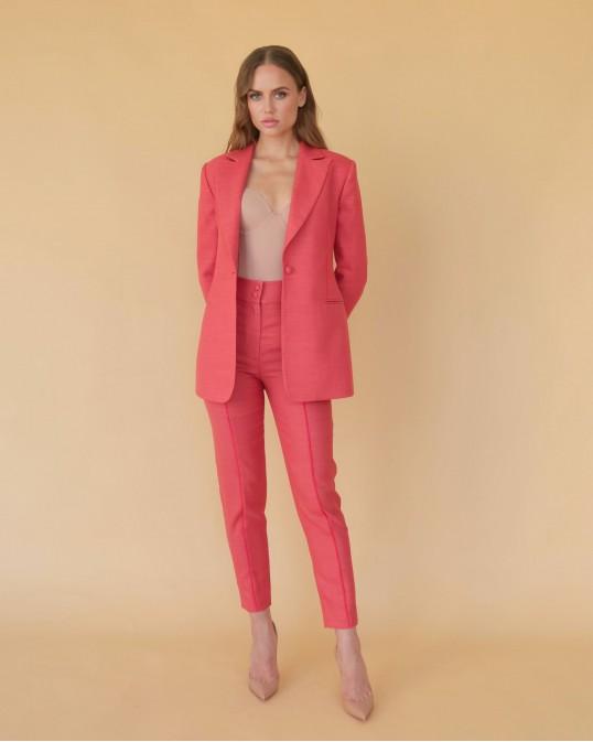 Терракотово-красные брюки из тонкой костюмной шерсти с красным кантом
