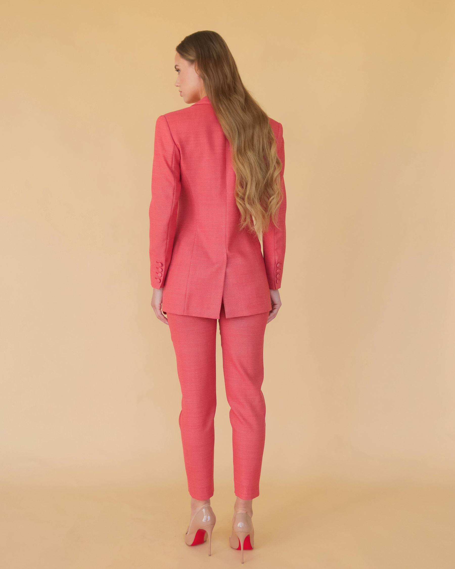Терракотово-красный жакет из тонкой костюмной шерсти с красным кантом