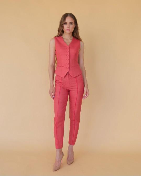Терракотово-красная костюмная жилетка