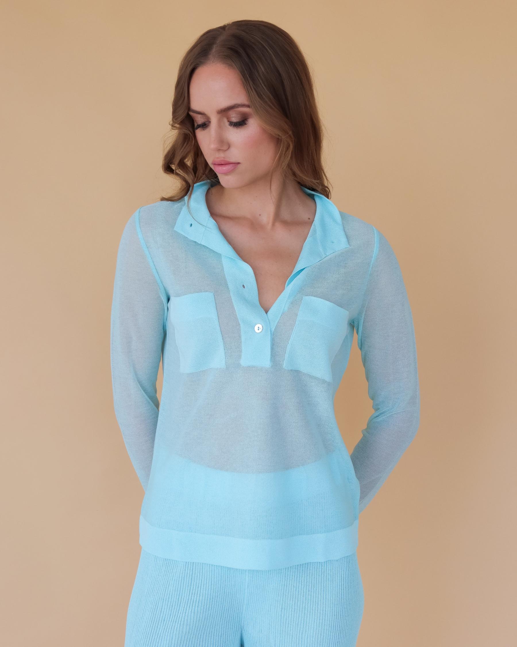 Легкая вязаная рубашка из вискозы мятная