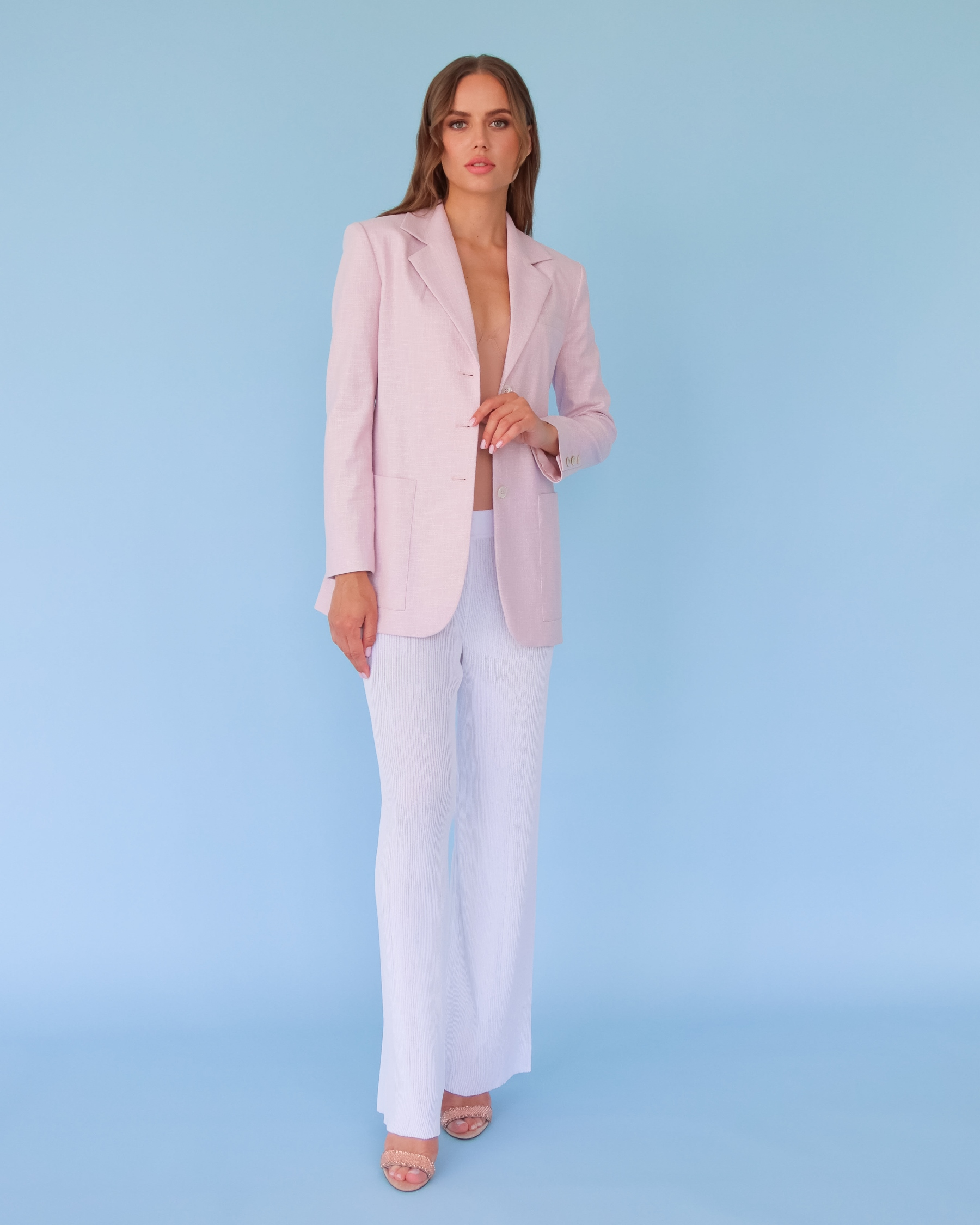 Жакет из льна светло-розовый