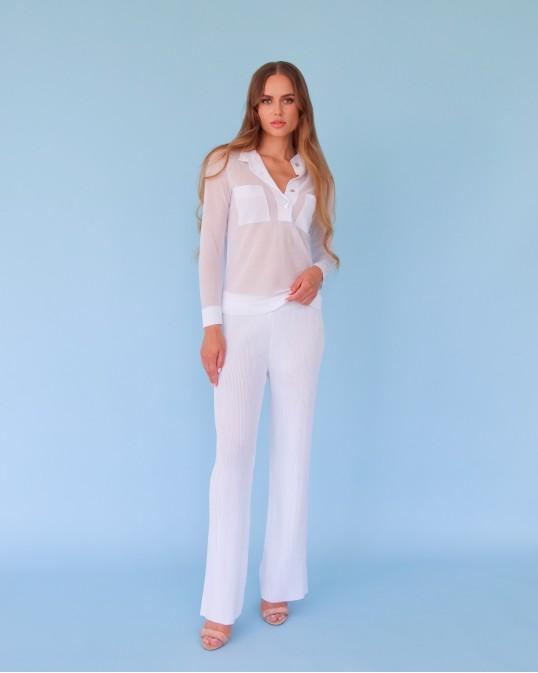 Легкие вязаные брюки из вискозы белые