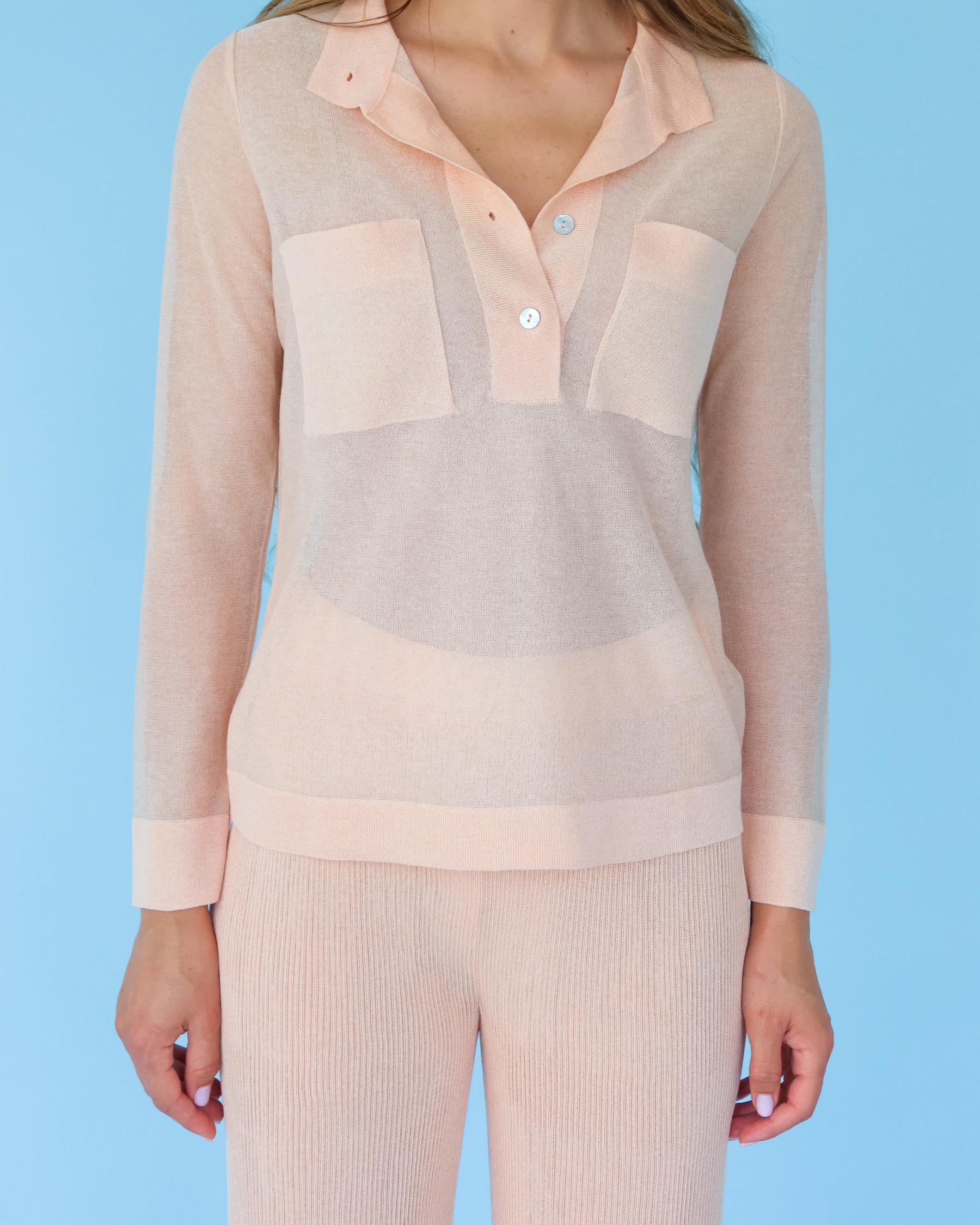 Легкая вязаная рубашка из вискозы персиковая