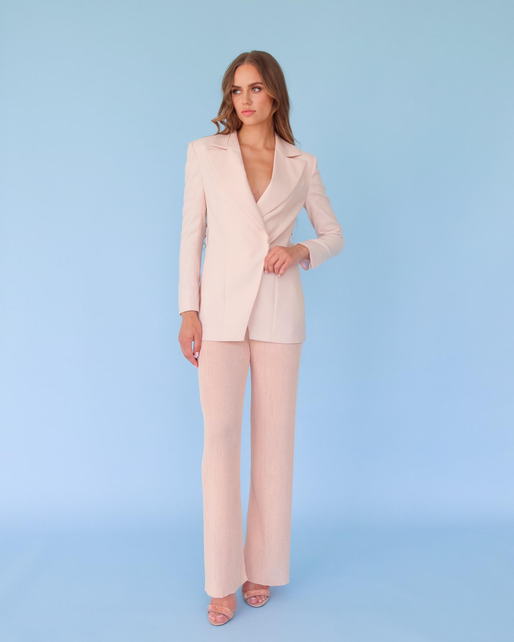 Легкие вязаные брюки из вискозы персиковые