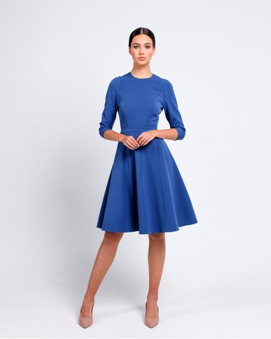 Платье ярко синее с боковыми карманами