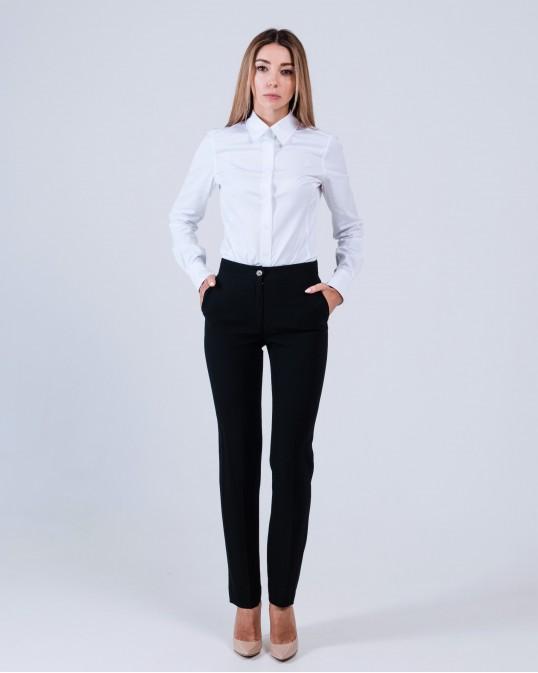 Черные зауженные брюки из крепа