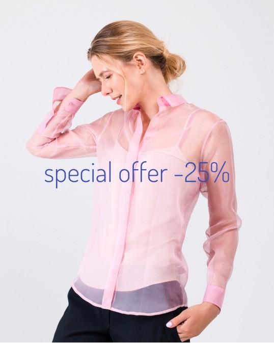 Прозрачная рубашка из органзы и шелковый топ на бретелях