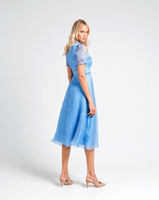 Платье миди из шелка-органзы голубое