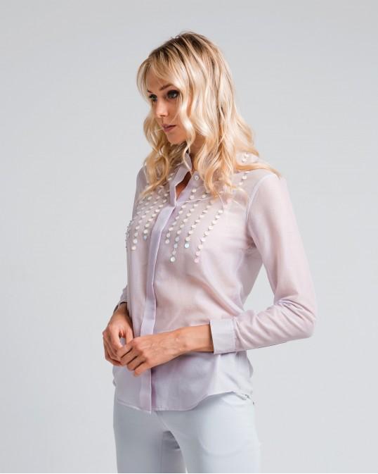 Расшитая прямая рубашка из легкого батиста с шелком