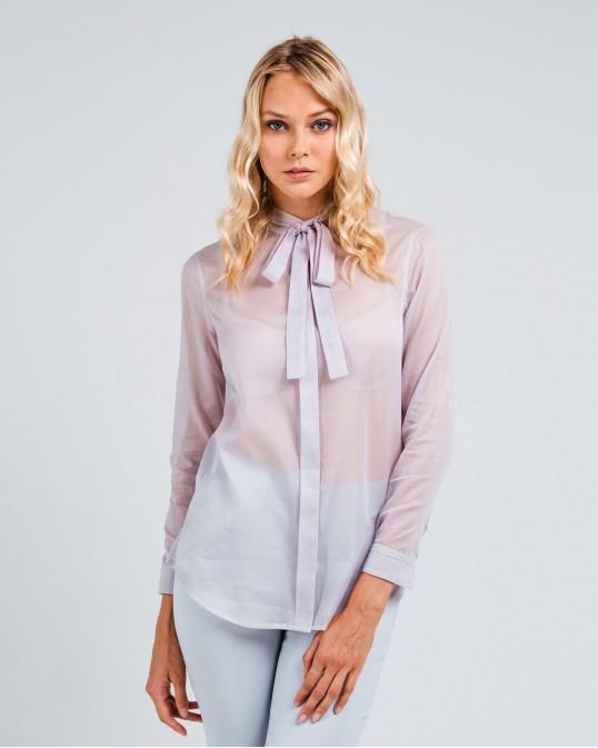 Прямая рубашка из легкого батиста с шелком светло-серая