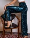 Широкие блестящие брюки темно-зеленые