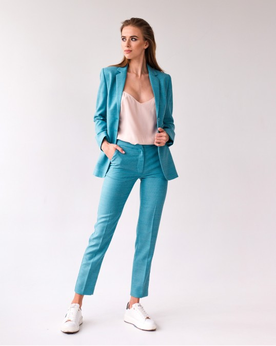 Бирюзовые брюки из тонкой костюмной шерсти Montecarlo