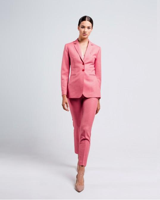 Розовые брюки из тонкой костюмной шерсти Montecarlo