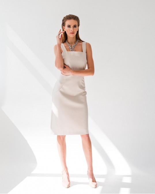 Приталенное платье без рукавов из джерси Punto Milano цвет латте