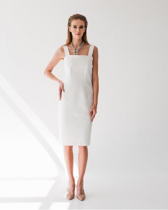 Приталенное платье без рукавов из джерси Punto Milano белое
